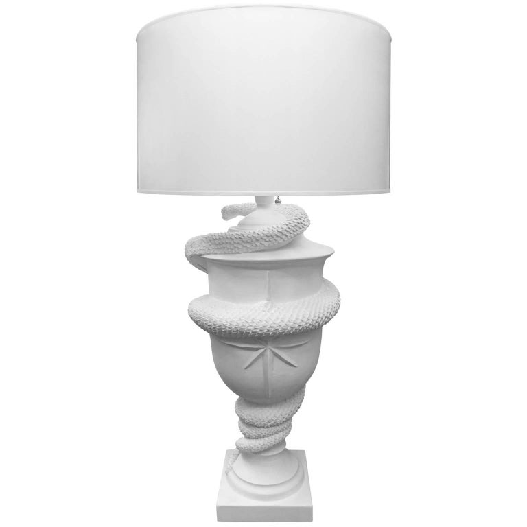 American Flair Exclusive Grande Serpent Urn Table Lamp Handcrafted by George Sellers For Sale