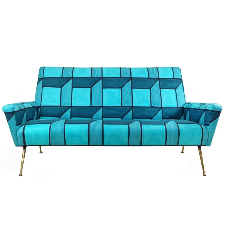 Mid-Century Sofa in Hand-Painted Blue Cube Pattern Livio de Simone Fabric 2