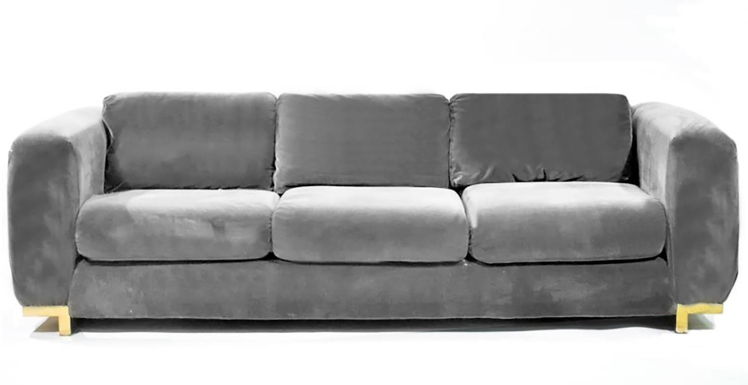 Three seat grey velvet sofa for sale at 1stdibs for Gray sofas for sale