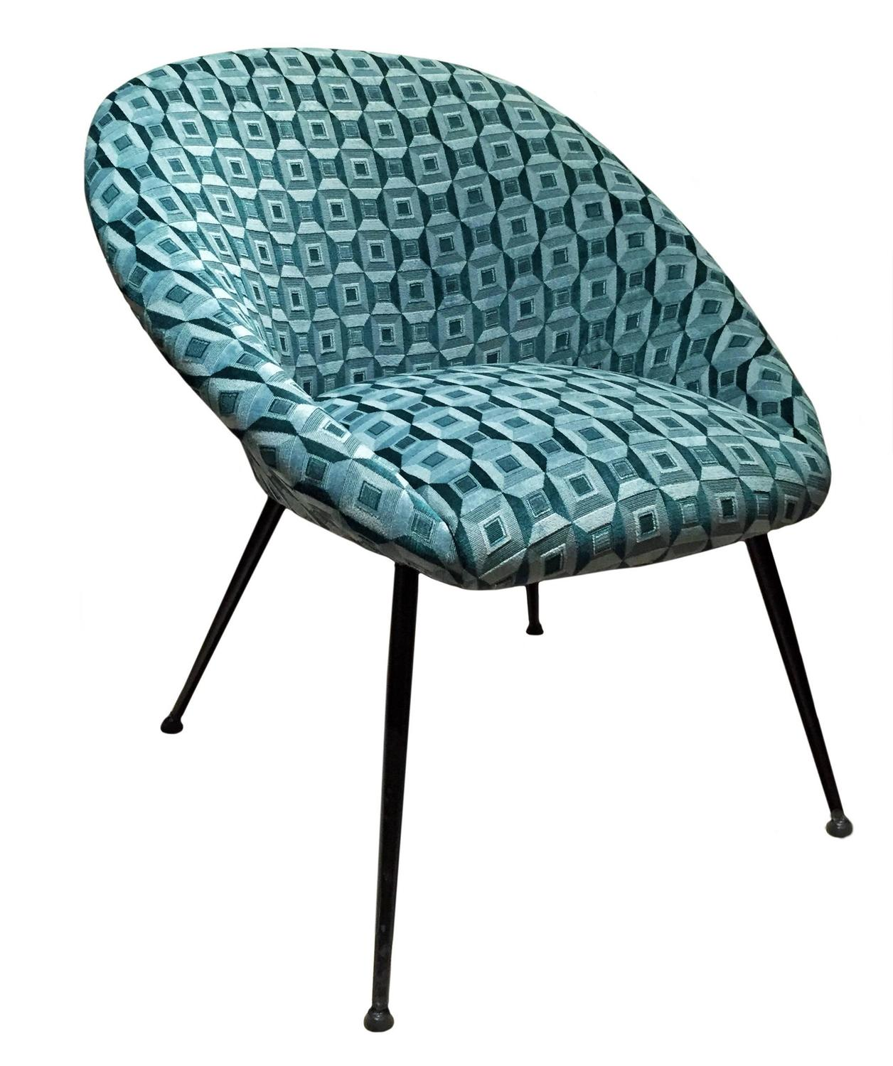 Curved Back Lounge Chair in Patterned Silk Velvet For Sale at 1stdibs