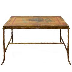 Maison Baguès Bronze Faux Bamboo Coffee Table with Antique Chinese Panel Top