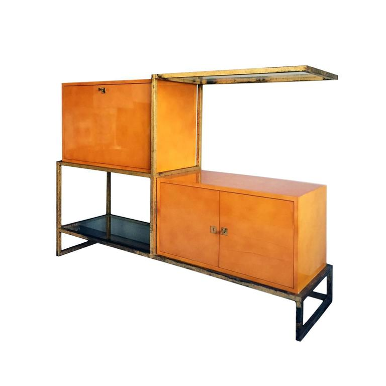 French Exceptional Lacquer and Gilt Iron Secretary Cabinet by Roger and Robert Thibier For Sale