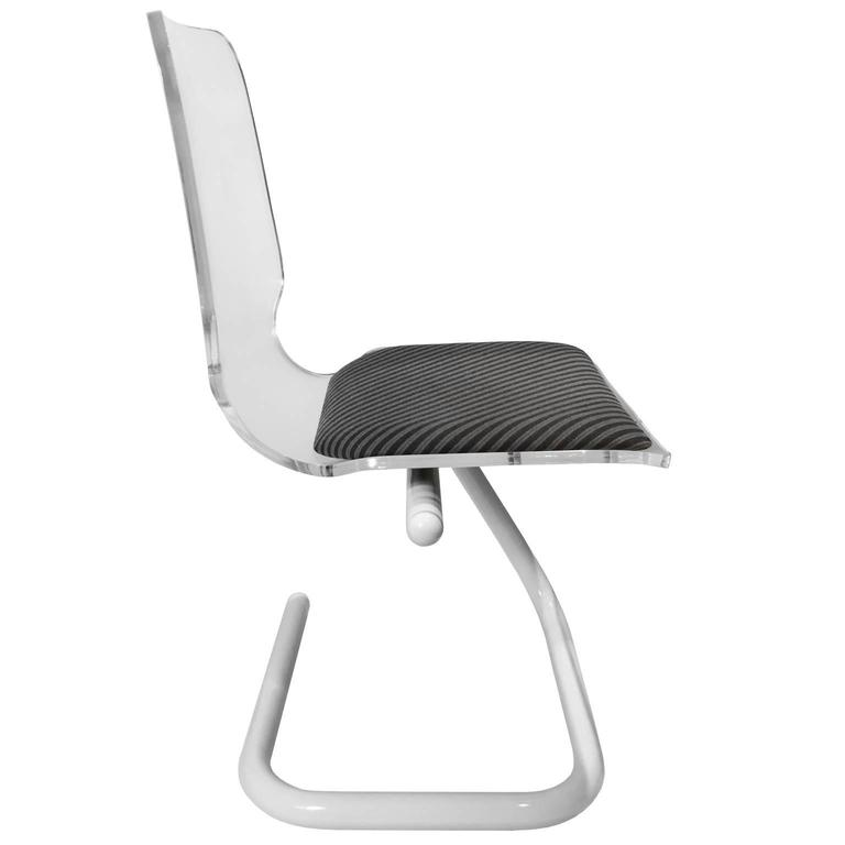 American Lucite and Powder Coated Chrome Tube Z-Base Desk Chair For Sale