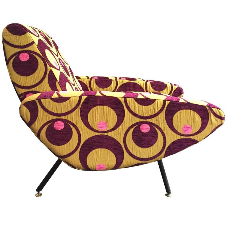 Italian Curved Armchair in Embroidered Pop Upholstery For Sale