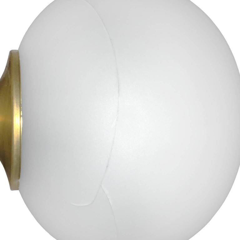 Frosted Glass Globe and Brass Standing Lamp 2