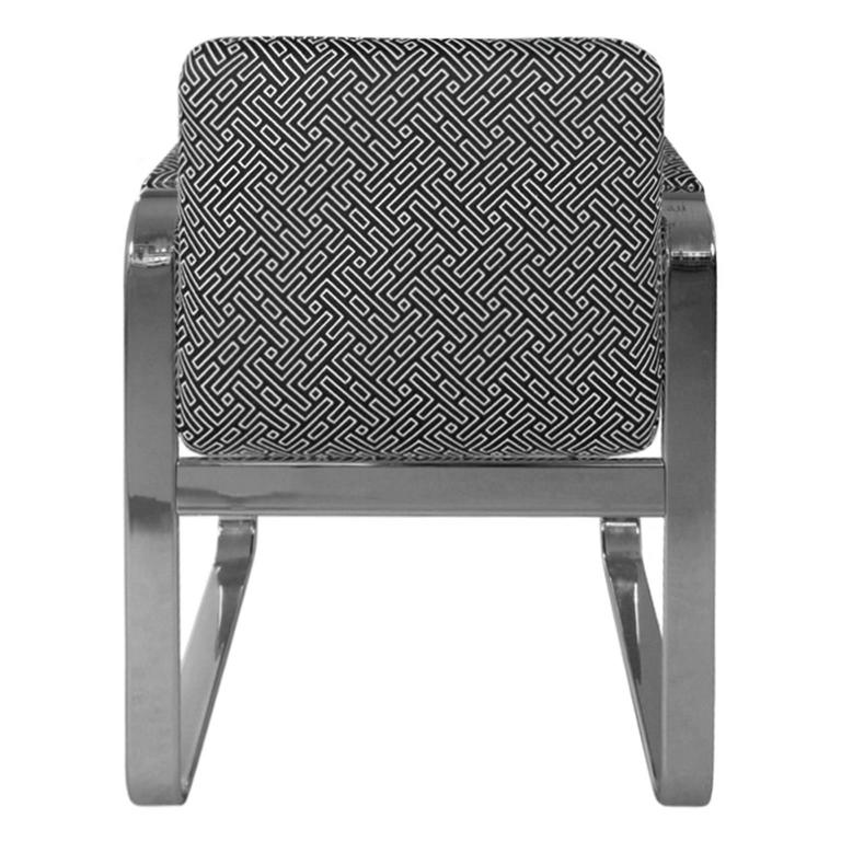 American 1970s Rounded Rectangular Chrome Armchair in Black & White Geometric Upholstery For Sale