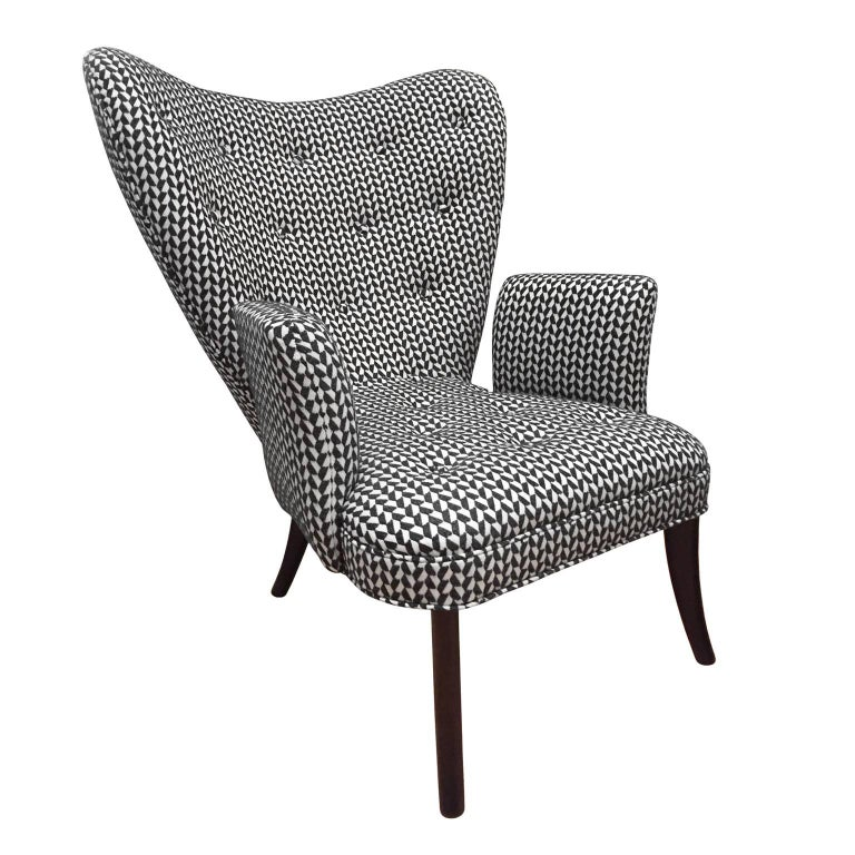 Flair Home Collection Custom Paolo Armchair in Black and White Textured Twill For Sale