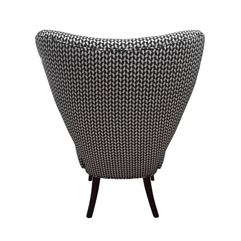 American Flair Home Collection Custom Paolo Armchair in Black and White Textured Twill For Sale