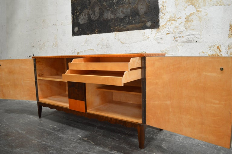 Birch Swedish Art Deco Moderne Intarsia Sideboard Buffet Cabinet For Sale