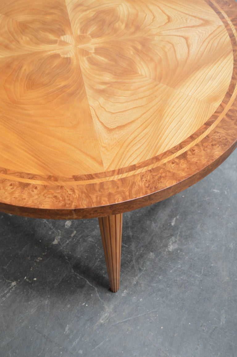 Art Deco Swedish Round Golden Elm End or Side Table For Sale