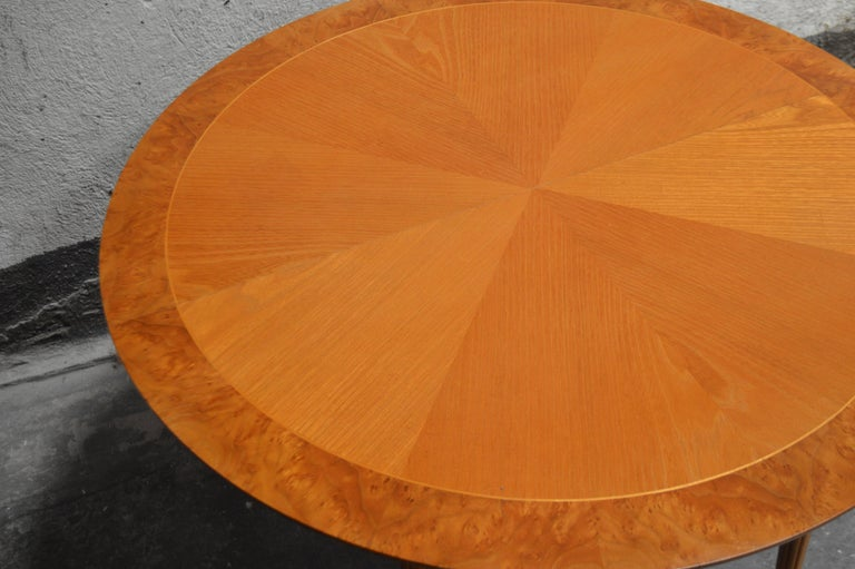 Mid-20th Century Swedish Round Golden Elm End or Side Table For Sale