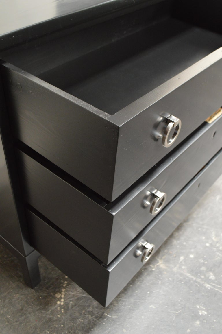 Lacquered Swedish Art Moderne Black Lacquer Three-Drawer Chest For Sale