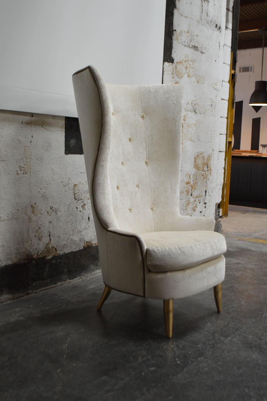 Custom Gudinna Tall Barrel Wing Chair For Sale At 1stdibs