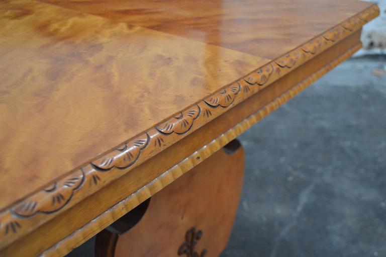 Art Deco Bibliotek Golden Flame Birch Dining or Writing Table In Excellent Condition For Sale In Atlanta, GA