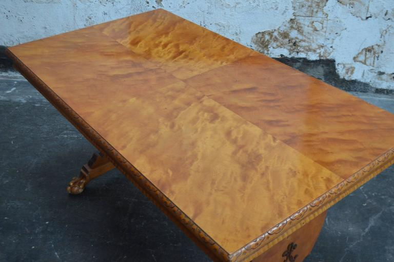 Mid-20th Century Art Deco Bibliotek Golden Flame Birch Dining or Writing Table For Sale