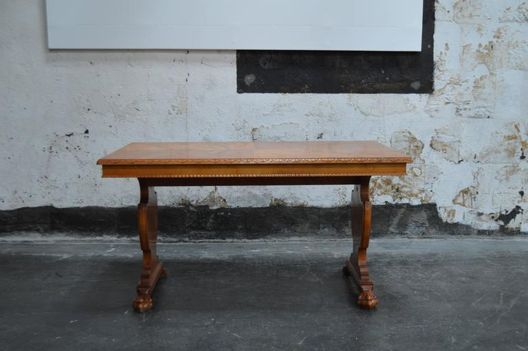 Art Deco Bibliotek Golden Flame Birch Dining or Writing Table For Sale 1