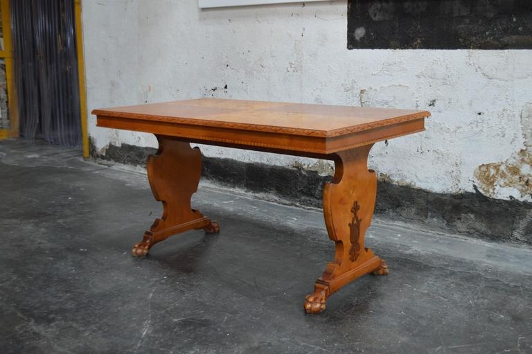 Art Deco Bibliotek Golden Flame Birch Dining or Writing Table For Sale 3