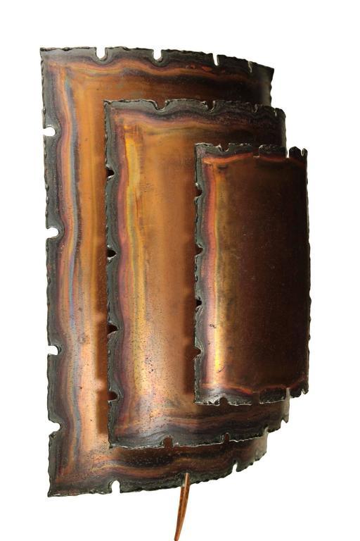 Vintage Danish Wall Lights : Pair of Vintage Danish Brutalist Copper Sconces For Sale at 1stdibs