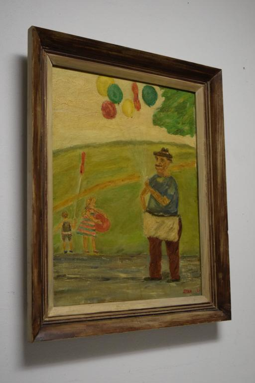 Whimsical painting of children at play in the park. Oil on canvas board. Signed in lower right corner STERN '60.  Framed in rustic Mid Century painting.   Last two photos show this piece next to another painting by the same artist. Please see