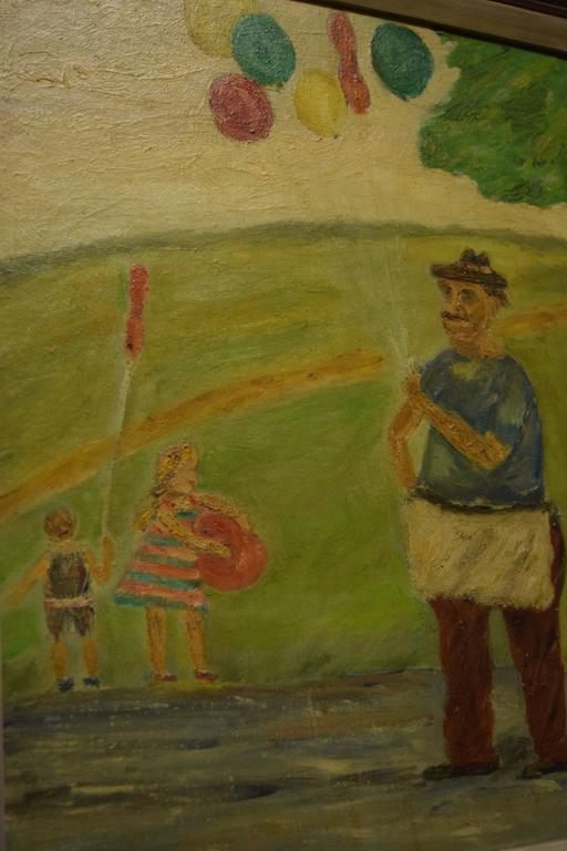 American Midcentury Painting Children at the Park by Stern For Sale