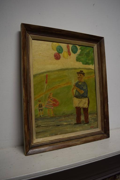Mid-20th Century Midcentury Painting Children at the Park by Stern For Sale