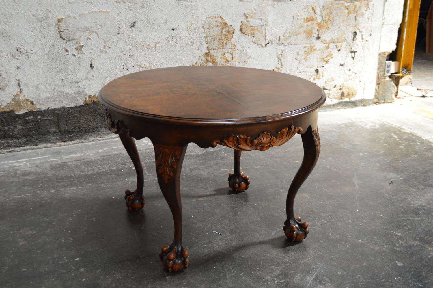 Handsome Chippendale Style Flame Birch Round Side Table