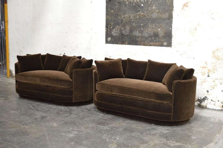 Pair Of Vintage Curved Loveseat Sofas In Chocolate Brown