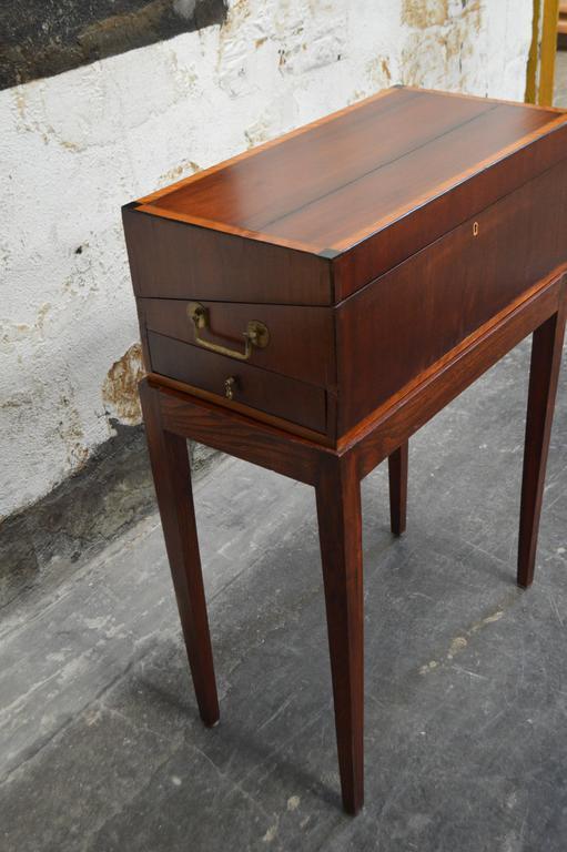 Antique Mahogany Intarsia Writing Box or Lap Desk on Rosewood Stand 3 - Antique Mahogany Intarsia Writing Box Or Lap Desk On Rosewood