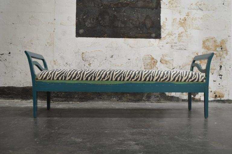Antique Swedish Gustavian Painted Bench Settee For Sale 3