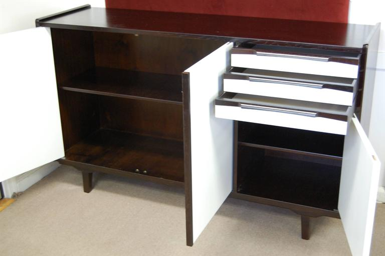 Mid-20th Century Swedish Mid-Century Teak and White Lacquer Credenza For Sale