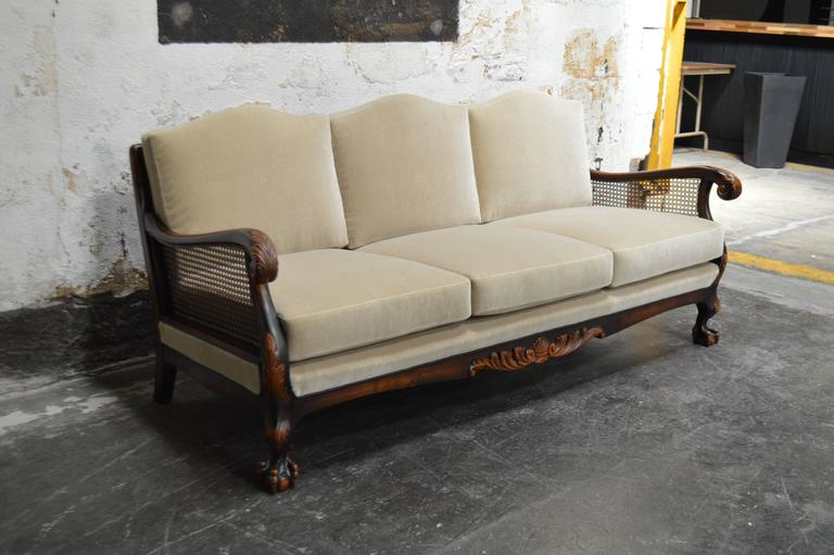 Swedish Neoclassical Caned Flame Birch Mohair Sofa At 1stdibs
