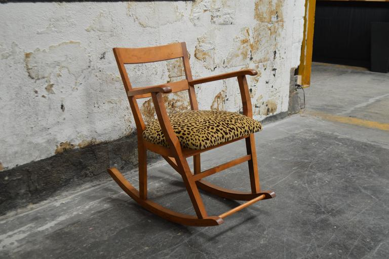 Superieur Comfortable Rocking Chair Featuring Newly Upholstered Seat In A Leopard  Mohair Velvet. Crafted Of Golden