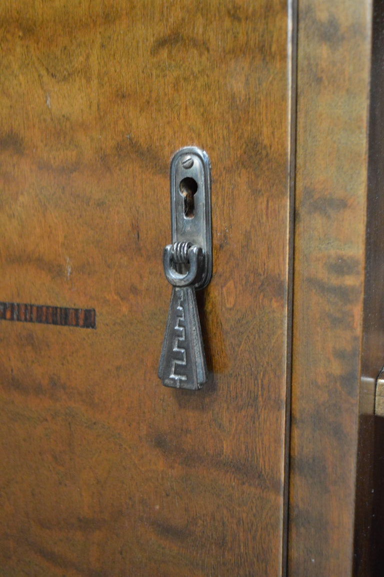 Jacaranda Swedish Inlaid Art Deco Bookcase Storage Cabinet For Sale