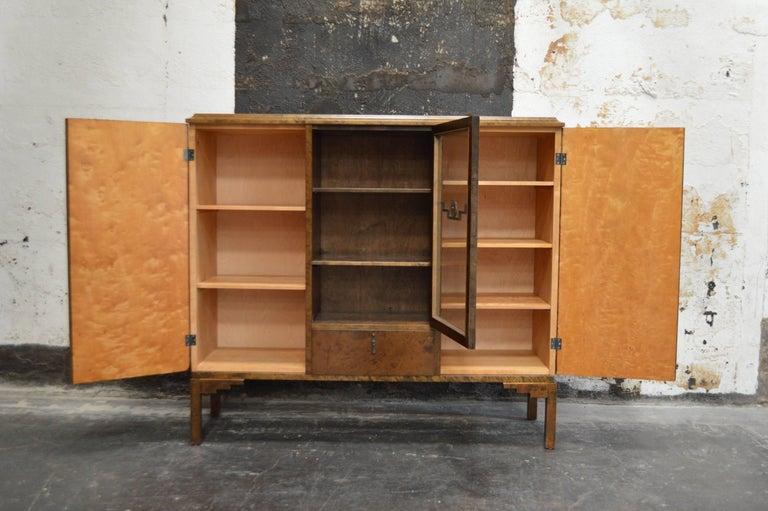 Swedish Inlaid Art Deco Bookcase Storage Cabinet In Excellent Condition For Sale In Atlanta, GA