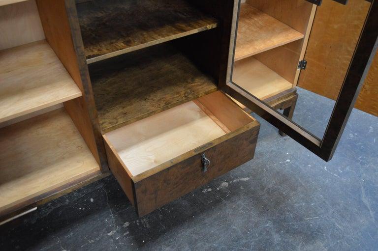 Mid-20th Century Swedish Inlaid Art Deco Bookcase Storage Cabinet For Sale