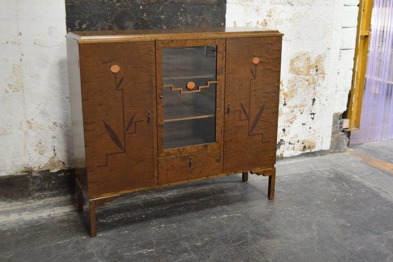 Swedish Inlaid Art Deco Bookcase Storage Cabinet For Sale 3