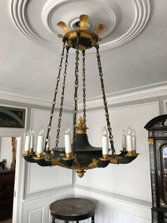 A Fine Charles X Ormolu and Patinated Bronze Chandelier, Circa 1820s