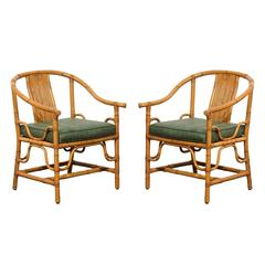 Pair of Rounded Back Bamboo and Rattan Armchairs