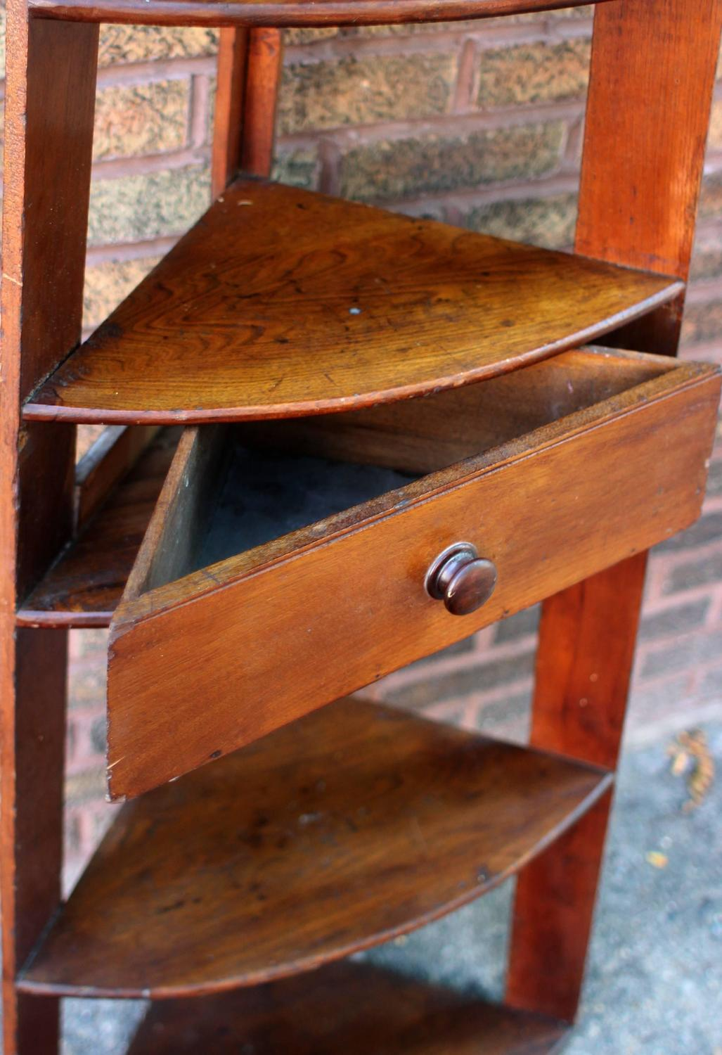Tall Corner Shelves with Drawer at 1stdibs