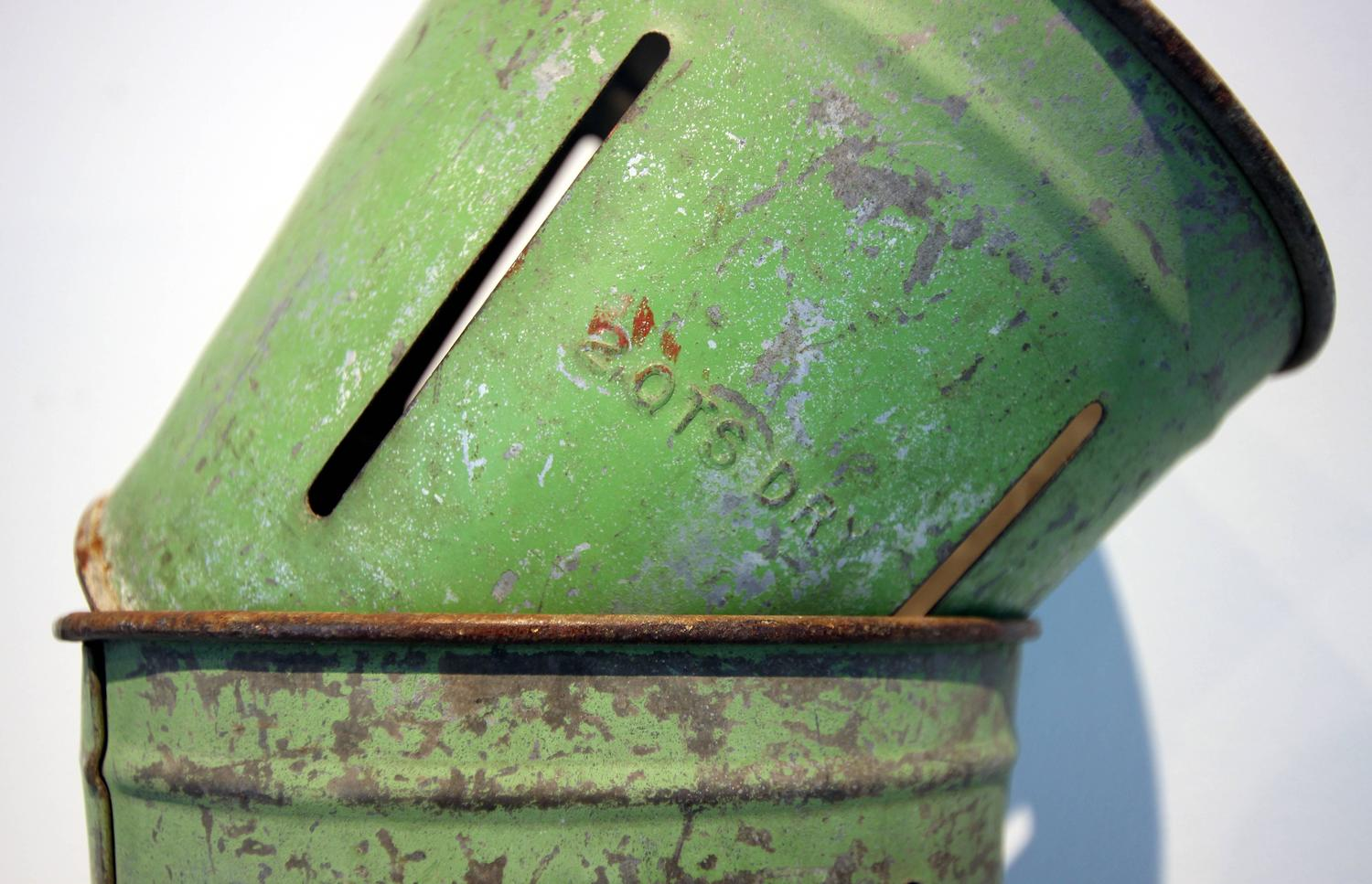 Set Of Four Green Painted Metal Bucket Measures For Sale