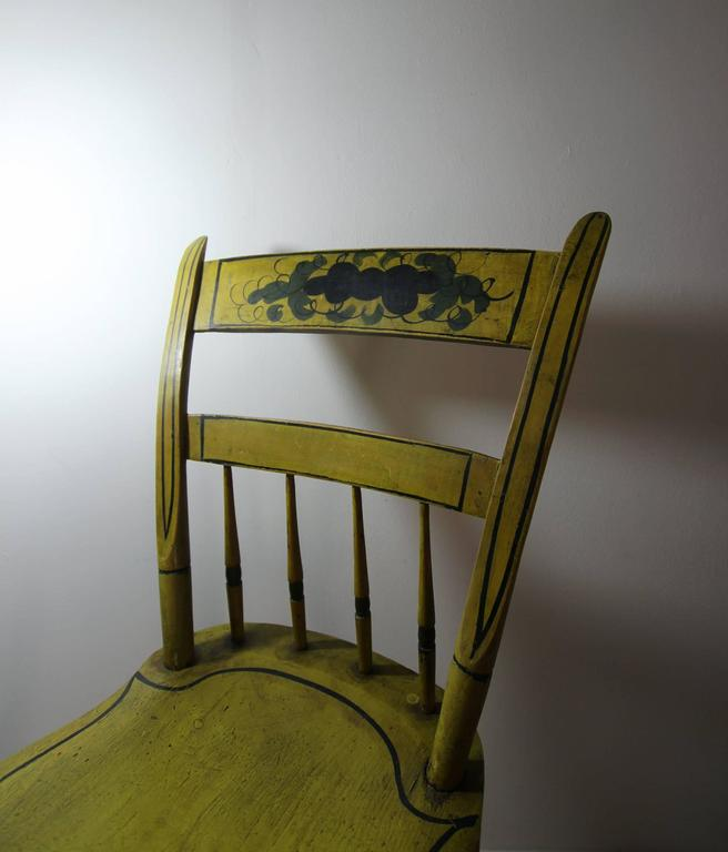 Set Of Six Yellow Paint Decorated Chairs, New England