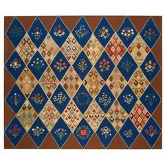Outstanding Pictorial Table Rug, circa 1870