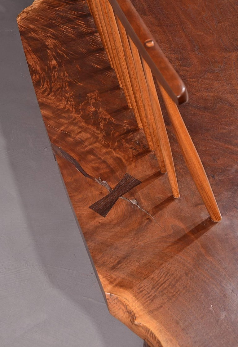 American Walnut Conoid Bench by George Nakashima For Sale