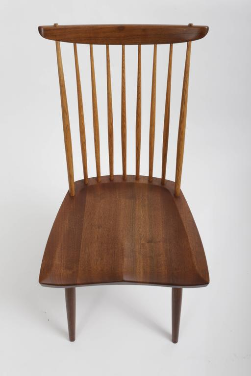 Hand-Carved Set of Eight New Style Chairs by George Nakashima For Sale