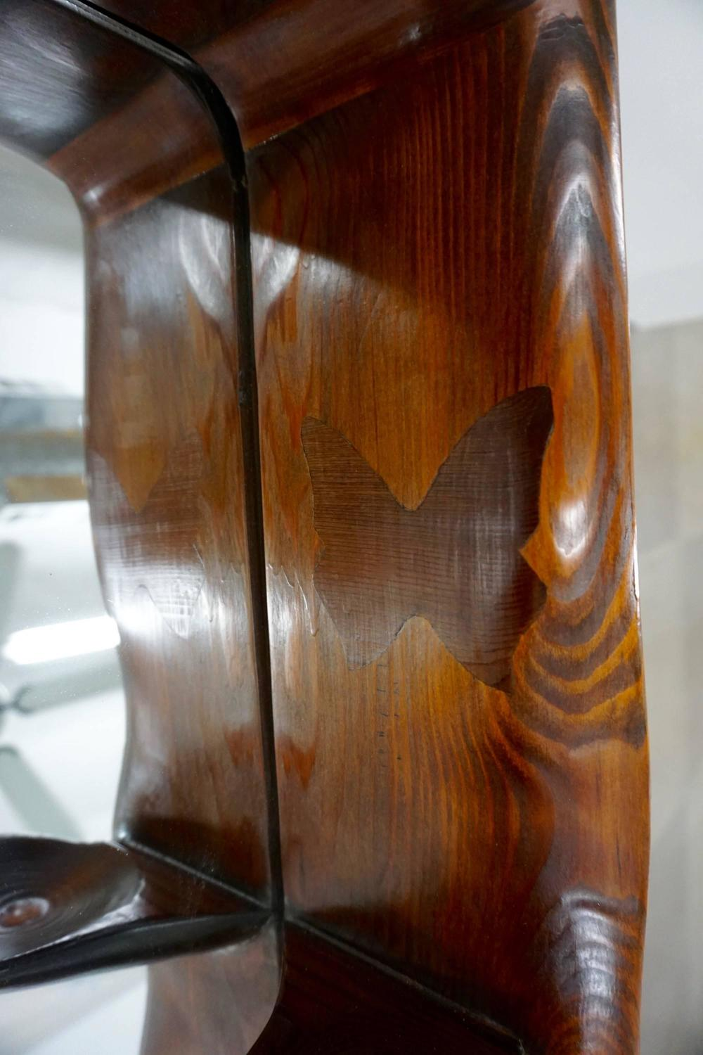 Beautiful Hand Crafted Redwood Standing Mirror For Sale at 1stdibs
