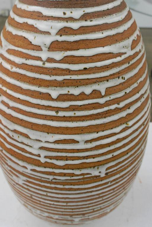 Tall Stoneware Vase with Drip Glaze 4
