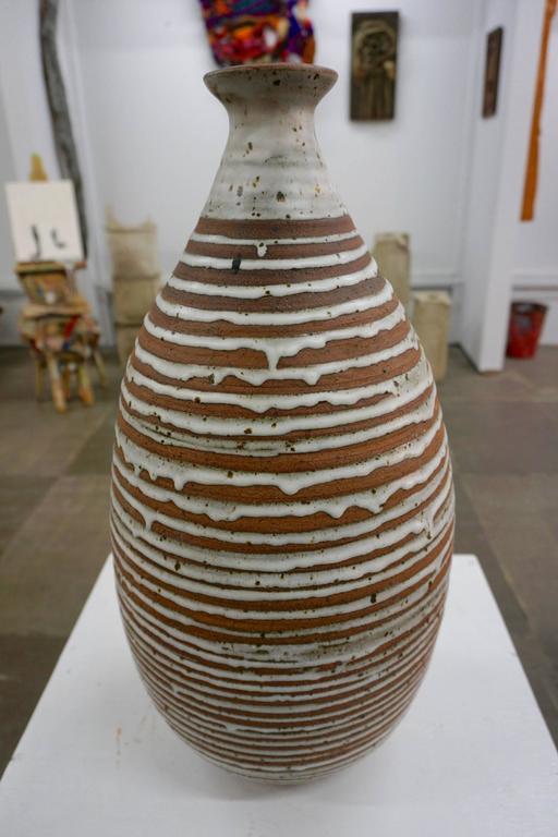 Tall Stoneware Vase with Drip Glaze 6