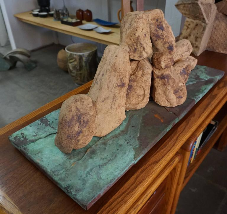 Handcrafted Ceramic Rock Sculpture In Excellent Condition For Sale In Cathedral City, CA