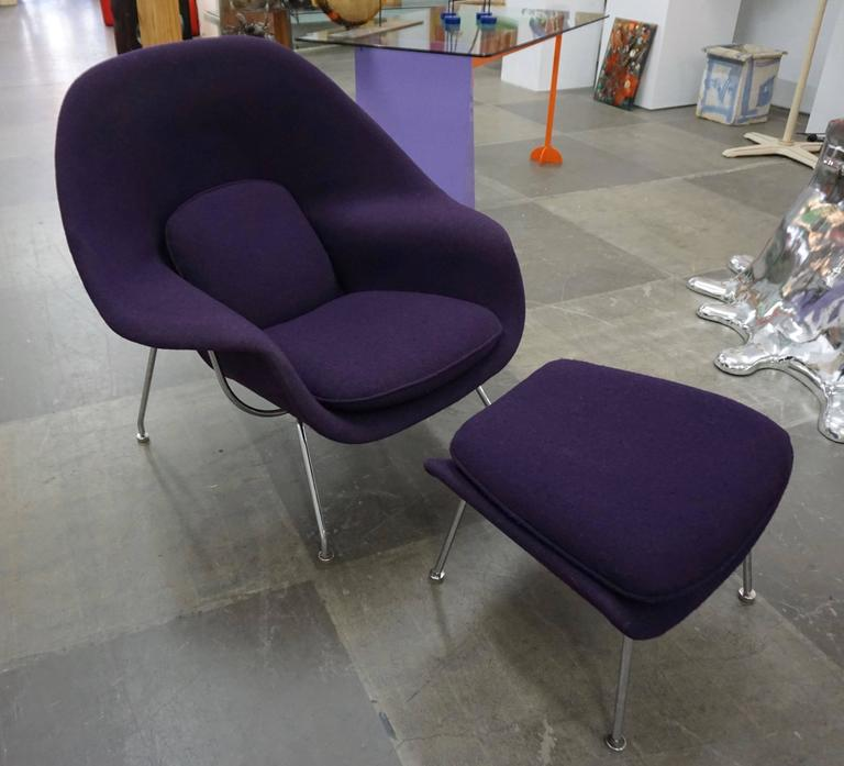 Designed by Saarinen for Knoll Intl. Upholstered in purple wool Knoll fabric with chrome-plated legs.