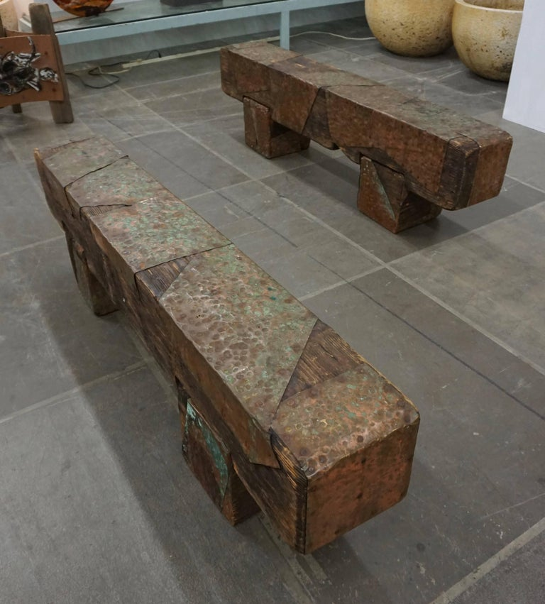 Pair of Brutalist Wood Benches 2